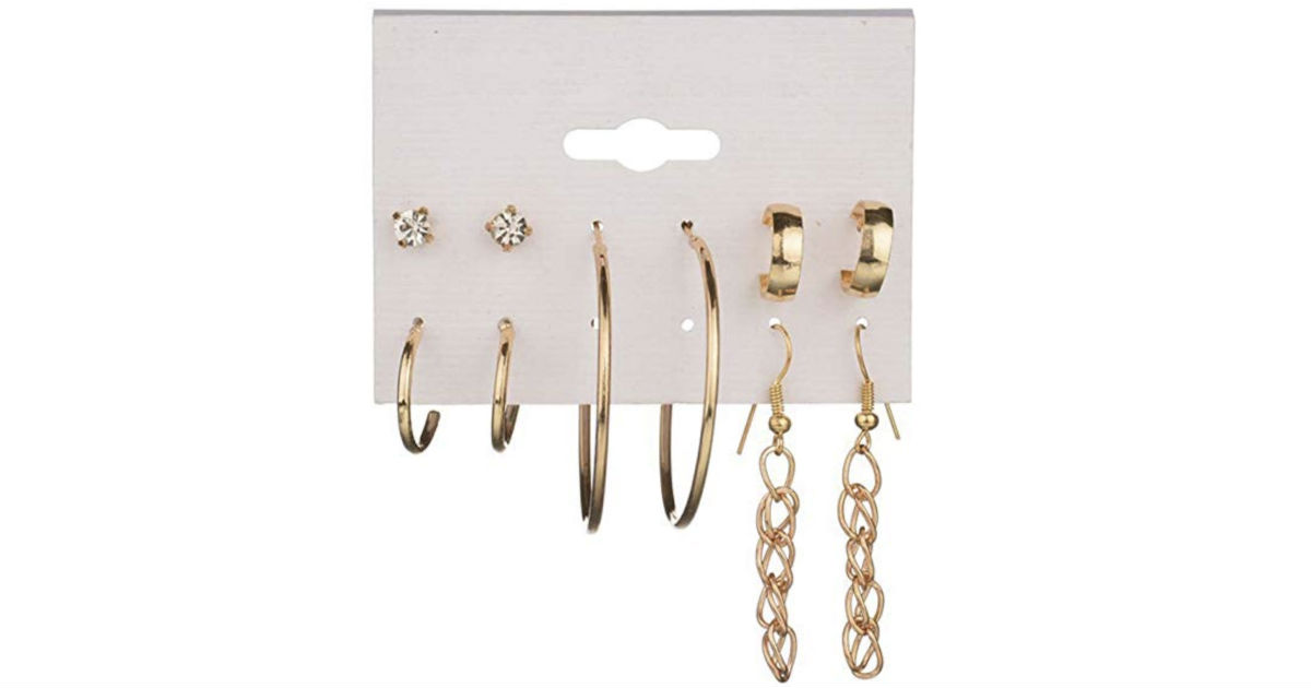 Shiny Rhinestone Earrings 5-Piece Set ONLY $2.39 Shipped
