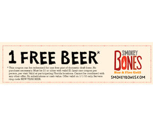 Smokey Bones - FREE Pint of Beer with Coupon - Free Product