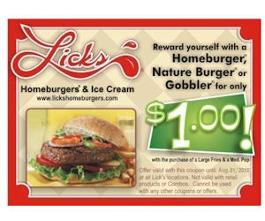 Licks homeburgers coupons