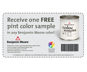 benjamin moore free pint color sample of paint with coupon free